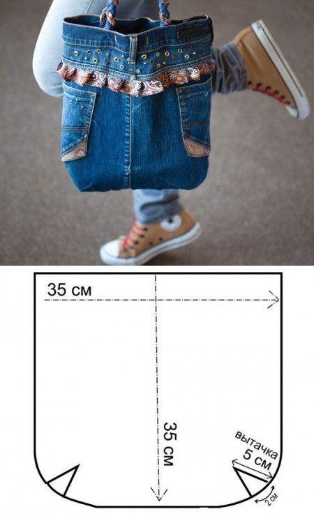 Сумки из джинсы своими руками выкройки фото