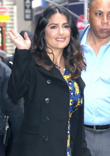 Salma Hayek makes an appearance on 'Good Morning America' in New York City.