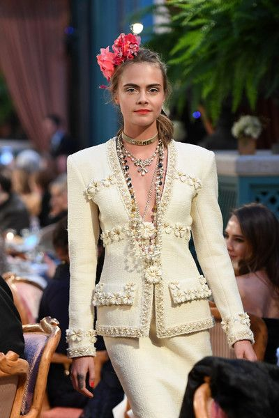 "Cara Delevingne walks the runway during ""Chanel Collection des Metiers d'Art 2016/17 : Paris Cosmopolite"" show on December 6, 2016 in Paris, France."
