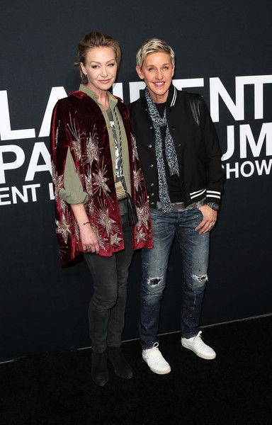Ellen Degeneres and wife Portia de Rossi attend SAINT LAURENT at the Palladium.
