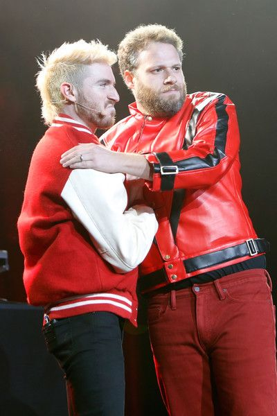 Musician Nicholas Petricca of Walk the Moon and actor/co-founder of HFC Seth Rogen perform onstage during Hilarity for Charity's 5th Annual Los Angeles Variety Show: Seth Rogen's Halloween.