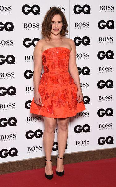 A Kick of Color in Oscar de la Renta's Orange Mini - We Can't Get Enough of Emilia Clarke's Regal Red Carpet Style - Photos