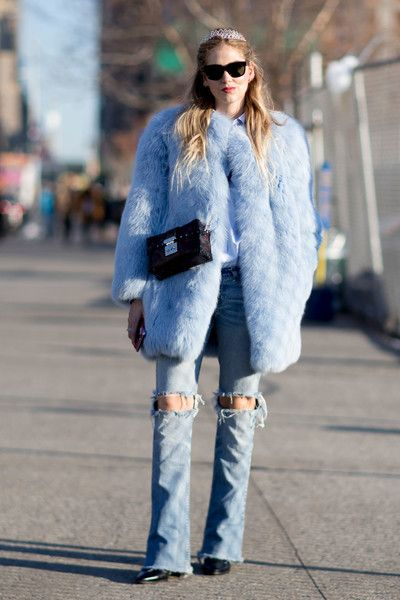 Pastel Perfection - These Street Style Stars Wore the BEST Faux Fur Coats at NYFW - Photos