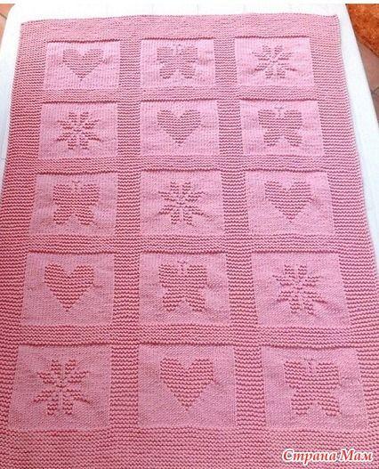 Вязанный плед одеяло спицами
