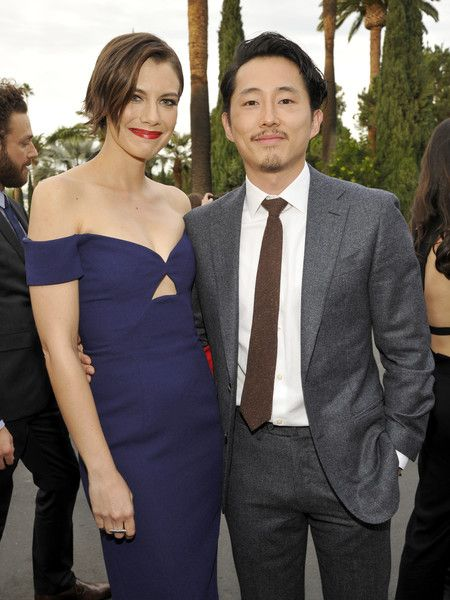 Actors Lauren Cohan and Steven Yeun attend as AMC presents 'Talking Dead Live' for the premiere of 'The Walking Dead.'