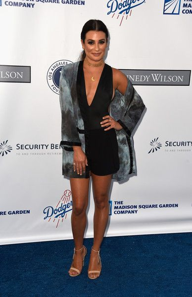 Lea Michele attends the Los Angeles Dodgers Foundation Blue Diamond Gala at Dodger Stadium.