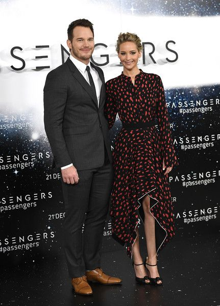 Actors Chris Pratt and Jennifer Lawrence attend a photocall for the film 'Passengers' in England.