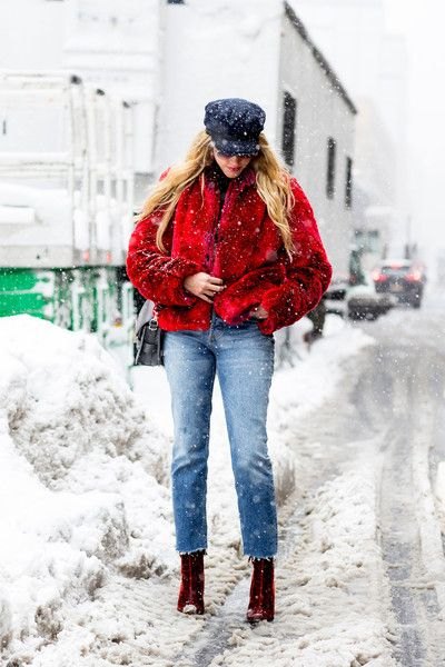 Crimson Fierce - These Street Style Stars Wore the BEST Faux Fur Coats at NYFW - Photos