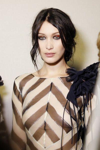 Model Bella Hadid is seen backstage ahead of the Alberta Ferretti show during Milan Fashion Week.