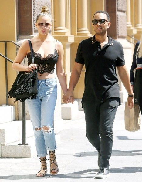 Chrissy Teigen and John Legend are seen out and about in New York City.