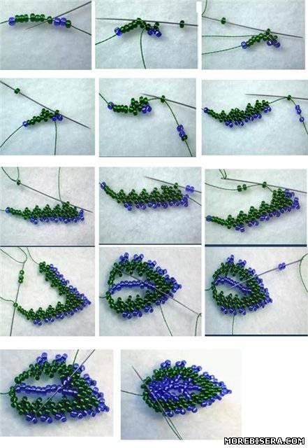 Бисероплетение мастер класс с пошаговым листья цветов 116