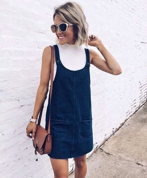 Under a Denim Dress - How to Wear the High Neckline Trend - Photos