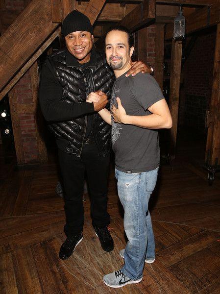 LL Cool J and Lin-Manuel Miranda pose backstage at Broadway's 'Hamilton.'