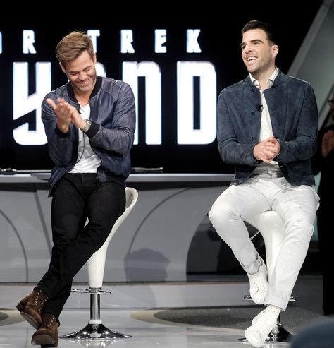 Actors Chris Pine (L) and Zachary Quinto attend the Star Trek Beyond Fan Event at Paramount Pictures Studios on May 20, 2016 in Hollywood, California.