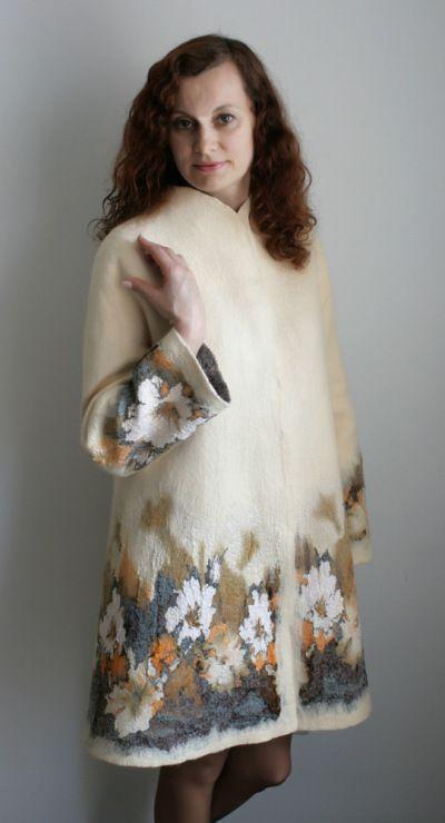 Валяное пальто из шерсти своими руками