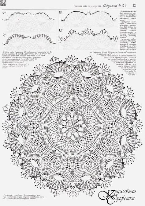 Вязание крючком салфетки коврики схемы 50
