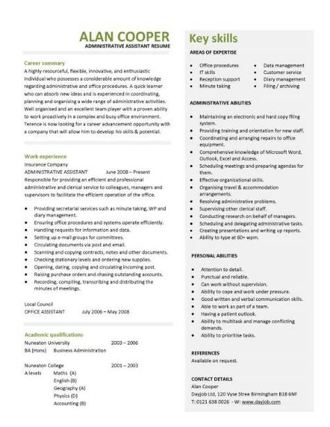 administrative work resume