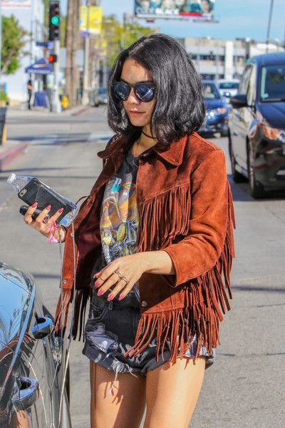 Vanessa Hudgens beats the LA heat in fringe and shorts.