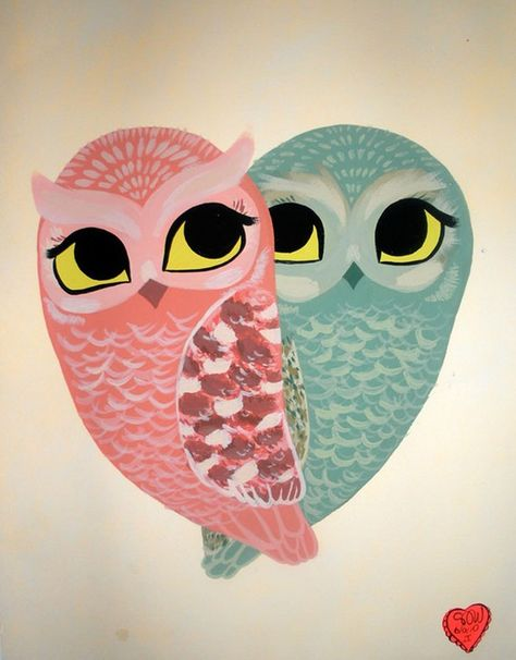 Owl always love you painting