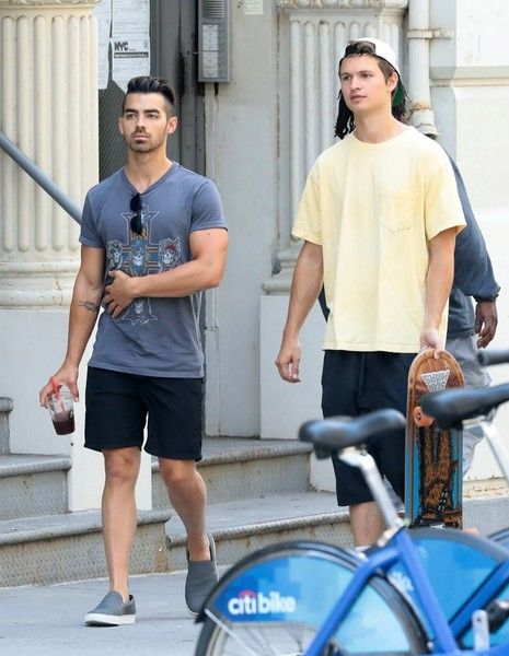 Singer Joe Jonas and actor Ansel Elgort are spotted hanging out with friends in New York City.