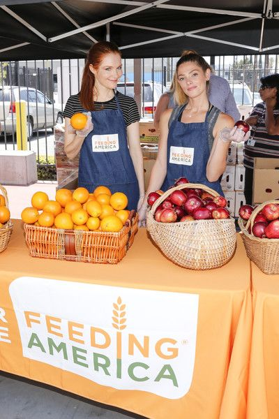 """Actors Darby Stanchfield and Ashley Greene volunteer at Para Los Ninos Charter Elementary as a part of the Feeding America & LA Regional Food Bank """"Put the Heat on Hunger"""" volunteer event>> on June 23, 2016 in Los Angeles, California."""