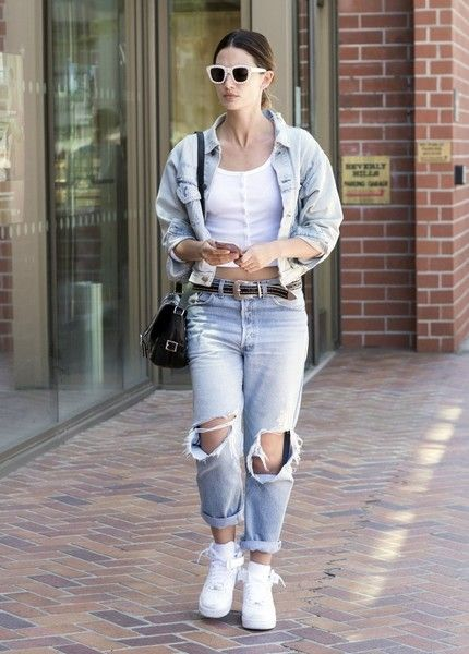 Victoria's Secret model Lily Aldridge is spotted out and about in Beverly Hills, California on April 28, 2016. Lily was rocking a lot of light blue denim during the solo outing.