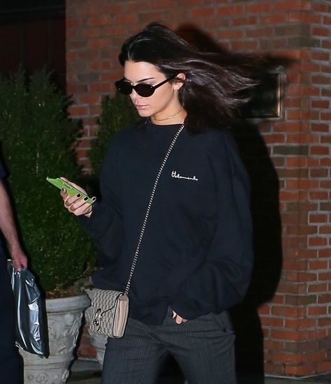 Reality star and model Kendall Jenner was spotted out and about in New York City, New York on September 28, 2016.  The model appeared very focused on her phone.