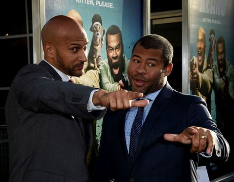 Actors Keegan-Michael Key (L) and Jordan Peele arrive for the premiere of the film 'Keanu' at the Archlight Cinerama Dome Theater in Hollywood, California on April 27, 2016. / AFP / Mark Ralston