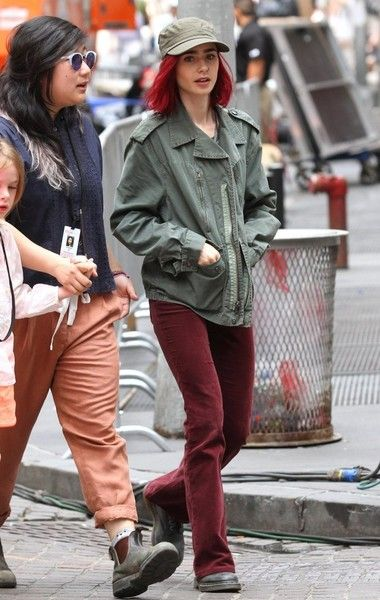 Lily Collins is seen taking a stroll while on the set of the sci-fi film 'Okja' in New York.