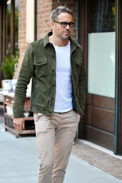 Actor Ryan Reynolds was spotted out and about in New York City, New York on September 25, 2016.  He wore a green jacket, white shirt, and brown pants while he was out.