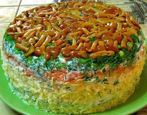 Салат грибная поляна с опятами рецепт и