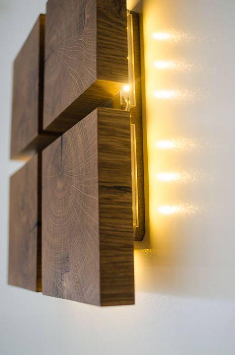 wall lamp wood DECOR#38 handmade. oak. wood lamp. sconce. wood wall lamp. wooden decor. plug in wall lamp. wood art. wall light