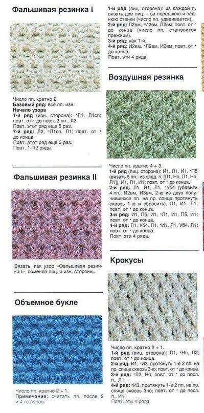 Все виды резинки вязание спицами 498