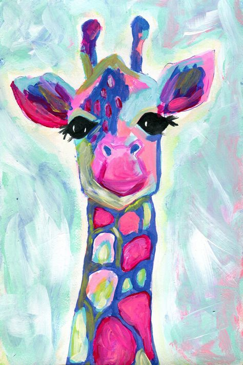 Colorful giraffe painting