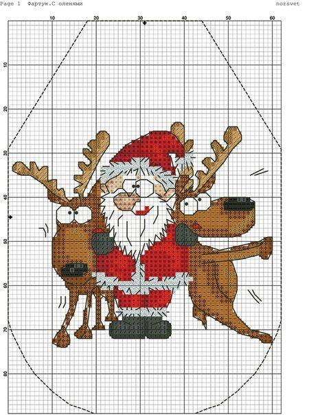 Схема вышивки крестом фартук новогодний