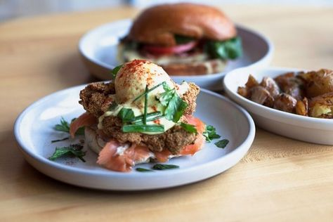 FRIED OYSTER BENEDICT – Sink Swim (Chicago) - 28 Dishes That are Eggs-actly What We're Craving - Photos