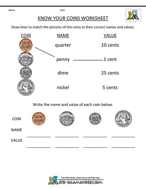 Coin worksheets grade 2