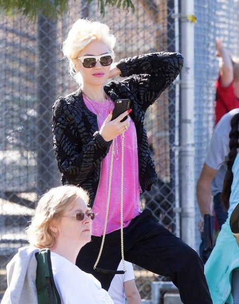 Gwen Stefani watches her son's soccer game in Studio City.