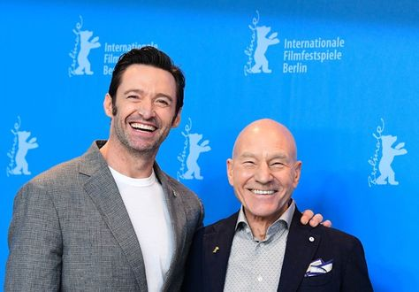 "English actor Patrick Stewart (R) and Australian actor Hugh Jackman pose for photographers during a photocall for the film ""Logan"" in competition at the 67th Berlinale film festival in Berlin on February 17, 2017. / AFP / Tobias SCHWARZ"