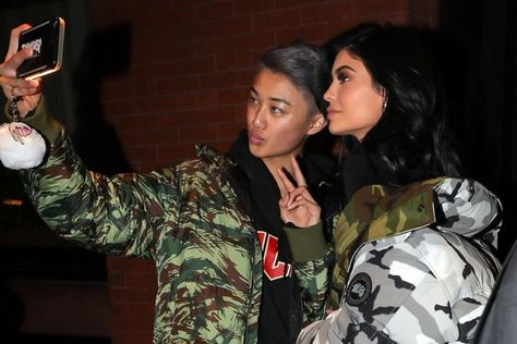 Reality star Kylie Jenner is spotted stepping out for the night in New York City, New York on January 16, 2017. Kylie stopped to pose for a selfie with a fan as she made her way to a waiting SUV.