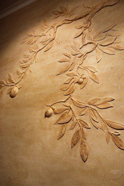Фактурная штукатурка в интерьере фото цветы деревья