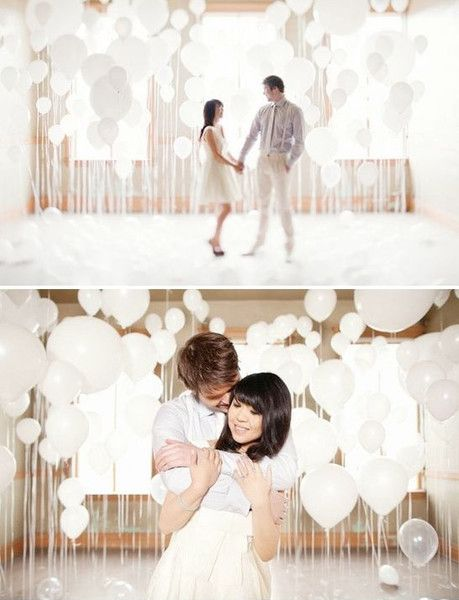 Balloon Room Backdrop - Engagement Photo Ideas That Won't Make You Cringe - Photos