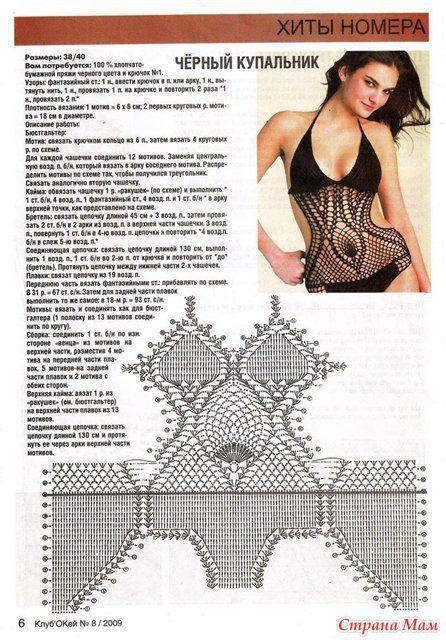 Схем вязаного купальника крючком