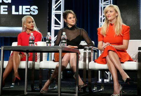 Actresses Zoe Kravitz, Shailene Woodley, and executive producer/actress Reese Witherspoon of the series 'Big Little Lies' speak onstage during the HBO portion of the 2017 Winter Television Critics Association Press Tour.
