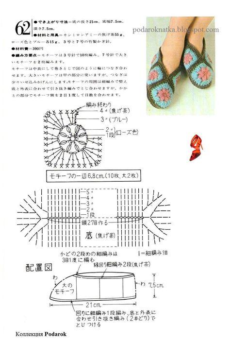 Номер крючка для вязания тапочек 45