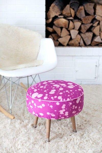 Bleach Spotted Footstool - Furniture Refurnishing DIYs - Photos