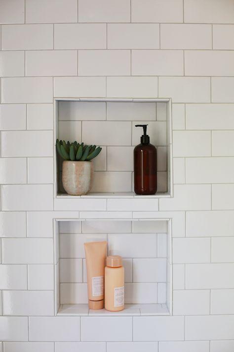 Shower niche subway tile