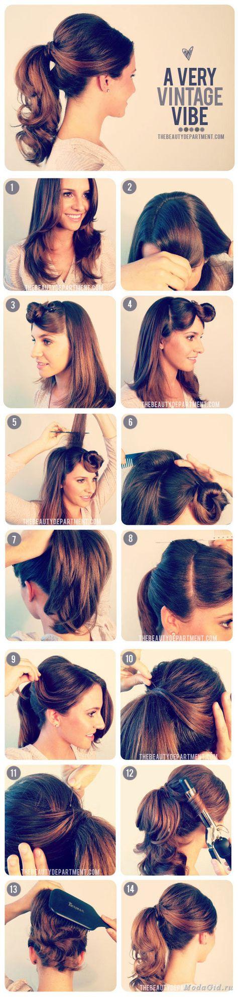 Как сделать прическу самой себе на средние волосы фото пошагово