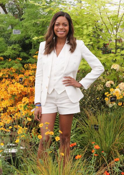 Actress Naomie Harries at the Rhododendron Society stand at RHS Chelsea Flower Show on May 23, 2016 in London, England.