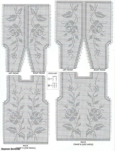 Схемы вязания моделей филейным вязанием 721
